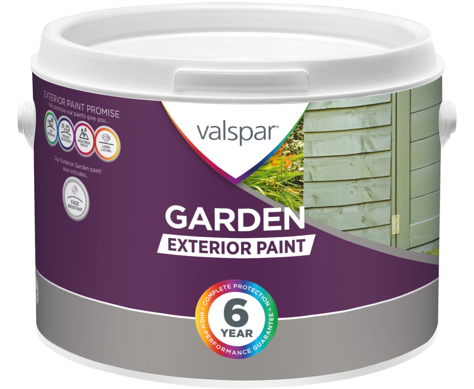 FOUNDED ON OUR EXTERIOR PAINT PROMISE, VALSPAR® GARDEN PAINT IS A FADE  RESISTANT COATING PERFECT FOR ADDING A NEW LEASE OF LIFE TO SHEDS, FENCES,  ...