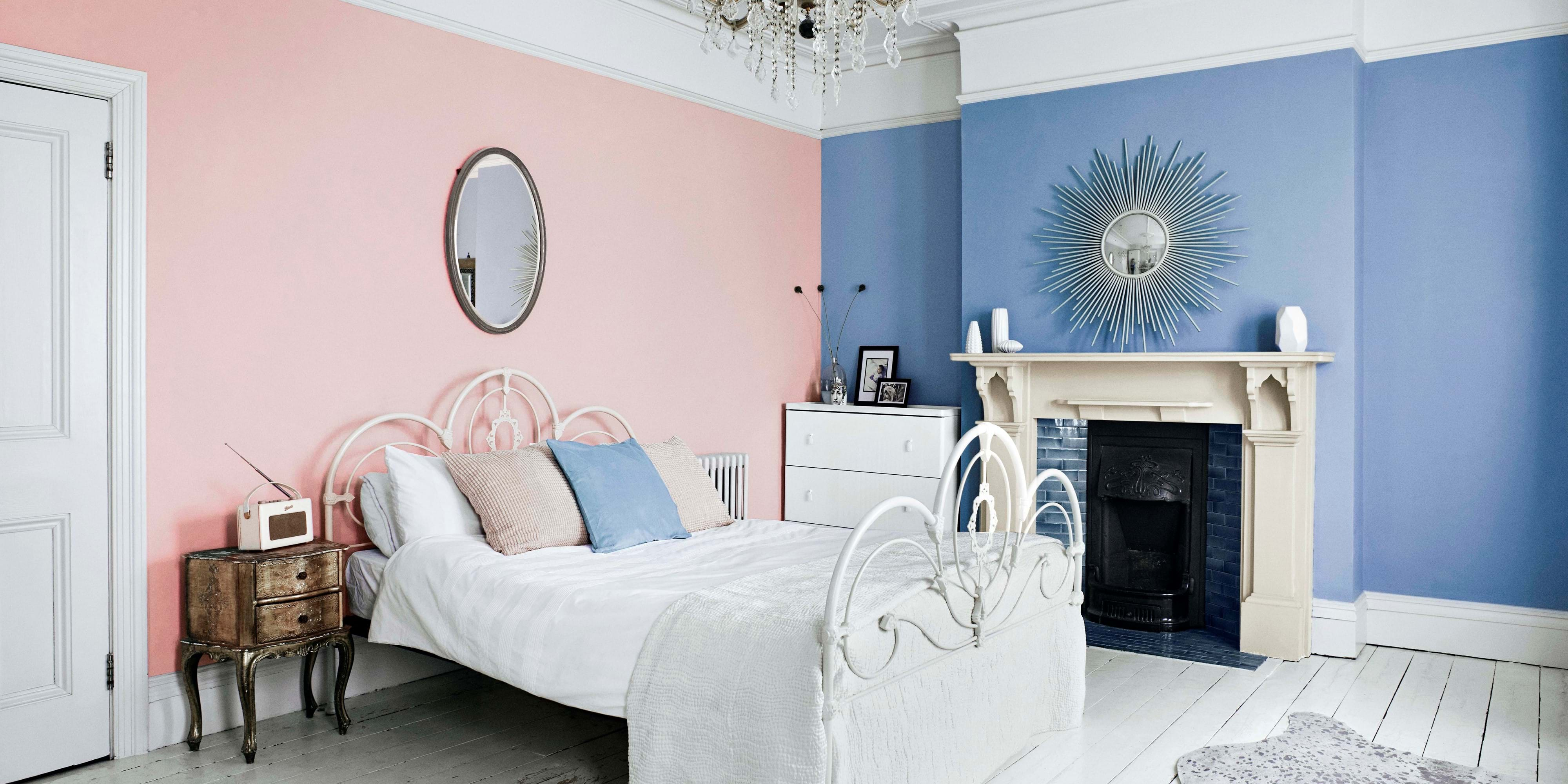 light blue and pink bedroom