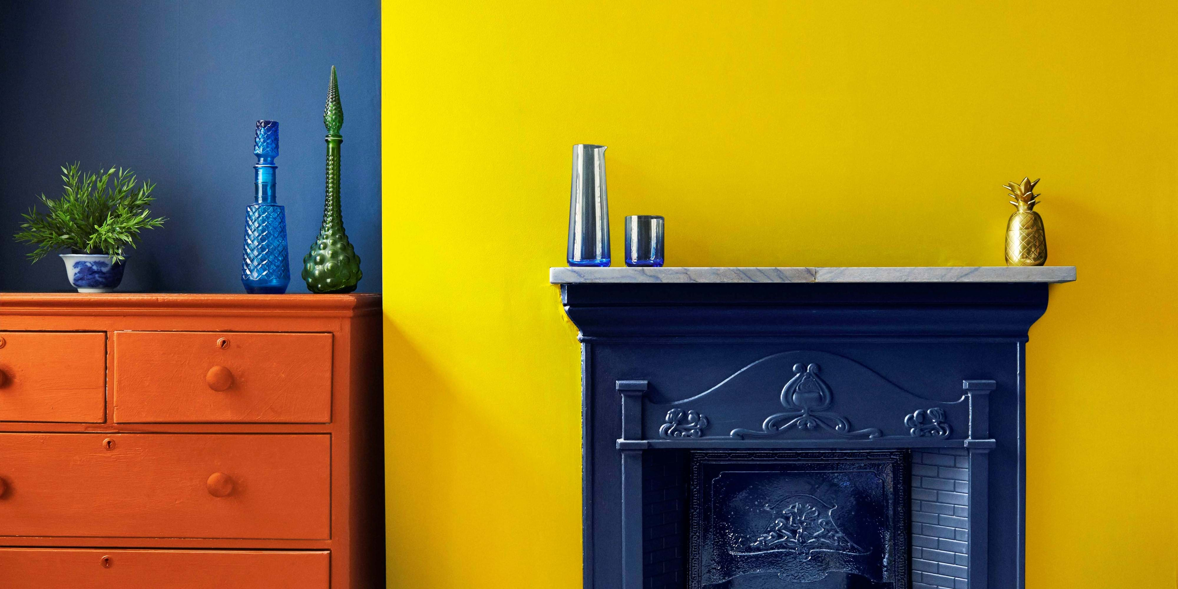 bright yellow feature wall