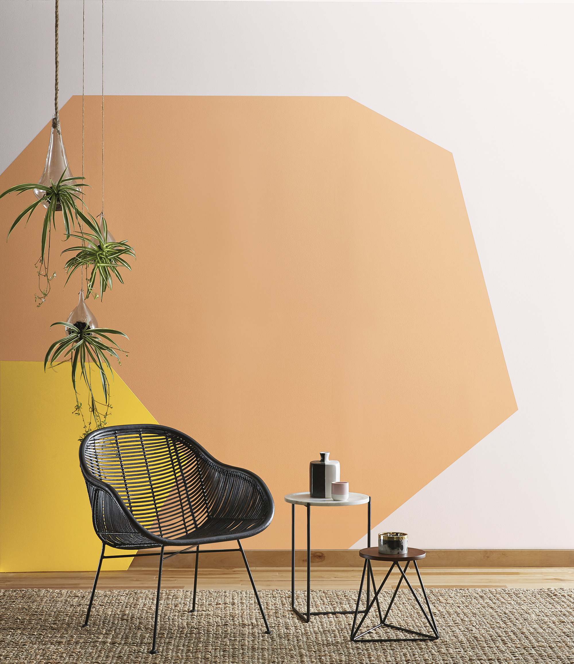 orange geometric pattern painted on wall