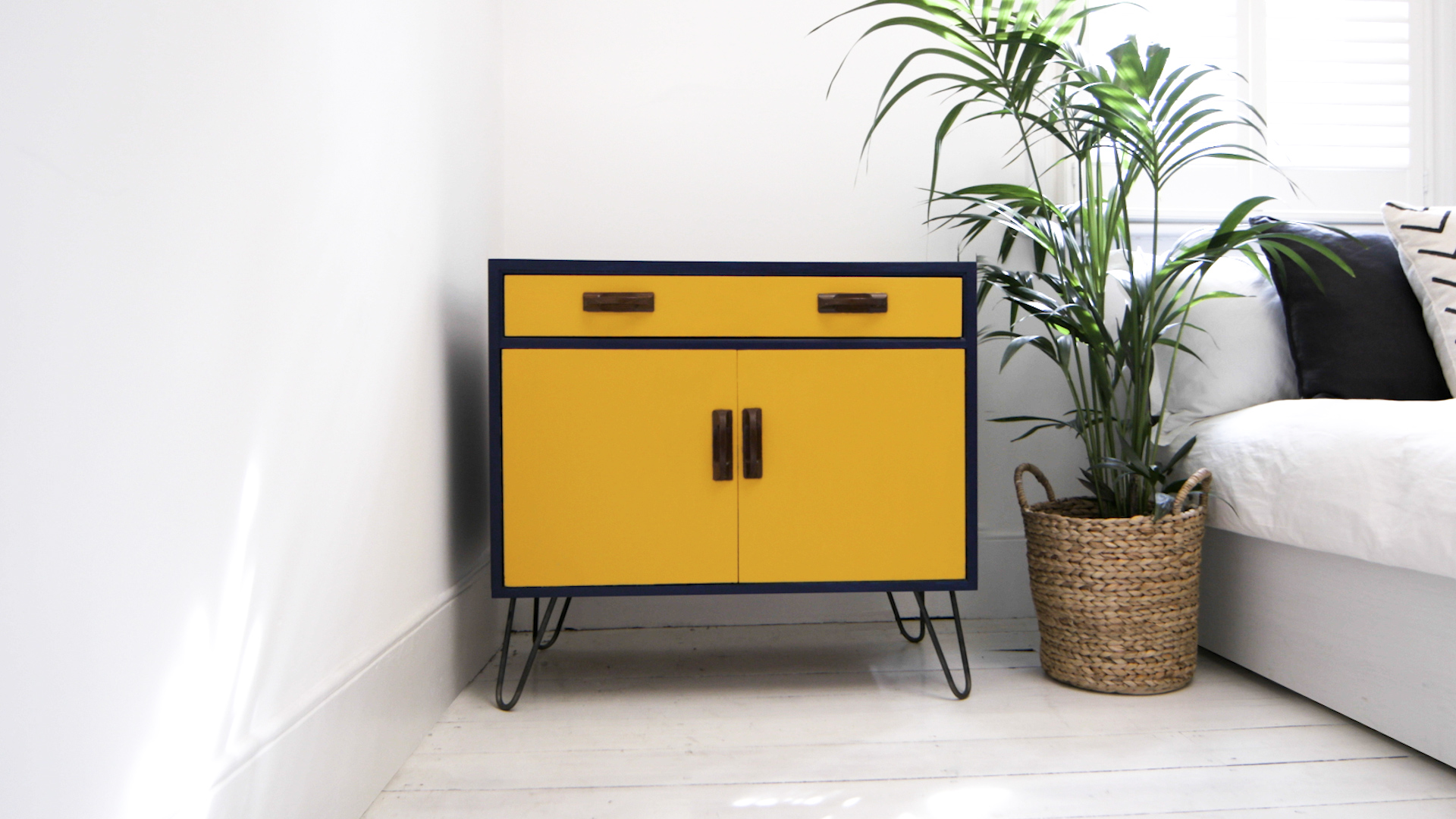 yellow and blue painted upcycled furniture