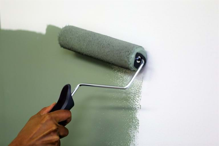 paint wall with roller