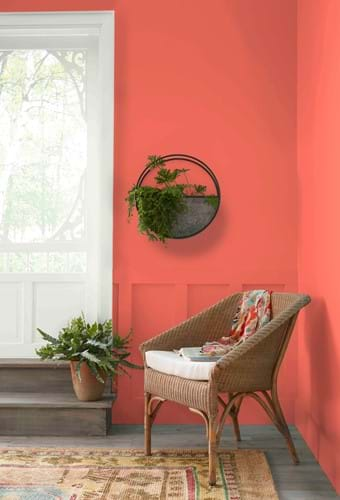 wall painted in coral in hallway